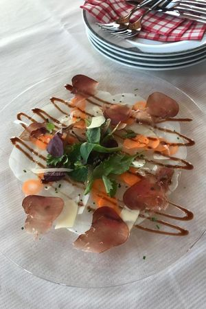 Vegetable carpaccio with balsamic cream